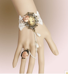 Wholesale Masquerade Rings - Hot Sale White Lace Flower Chain Masquerade Party Wedding Bracelet w Ring WS 55
