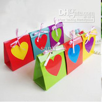 Wholesale Rainbow Wedding Favor Boxes - Wedding Paper Candy Box Rainbow Hearted Candy Boxes Birthday Party Favor gifts