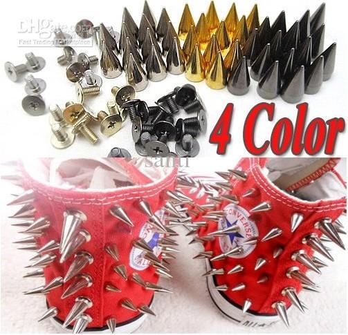 14mm Metal Bullet Spike Studs Punk Bag Belt Clothes Leathercraft Cone Rivet