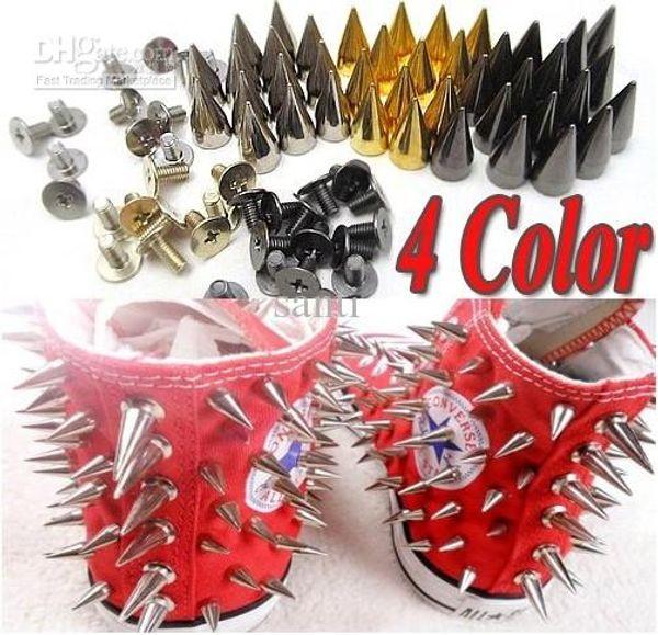 10mm Metal Bullet Spike Stud Punk Bag Belt Clothes Leathercraft Cone Rivet