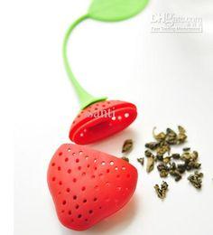 sacchetti a forma di frutta Sconti Forma di frutta Sacchetto di riempimento per tè in silicone con mestolo con supporto per pad Filtro per infusi di tè in silicio a forma di fragola