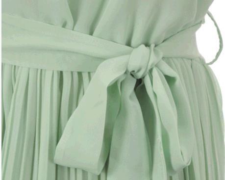Vintage Womens Korea Fashion Pleated Mint Green Sleeveless Belted Chiffon Dress 20