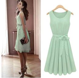 Wholesale Korea Summer Short Dress - Vintage Womens Korea Fashion Pleated Mint Green Sleeveless Belted Chiffon Dress Lots 20