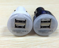 carregador do carro usb dois portos venda por atacado-Universal Dual 2 Portas USB Car Adapter 2.1A Para iphone ipod ipad, Carregar dois dispositivos USB 100 pçs / lote