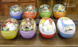 Wholesale Easter Egg Tin Candy Box - Easter decoration cabochons Fashion easter eggs tin candy storage box