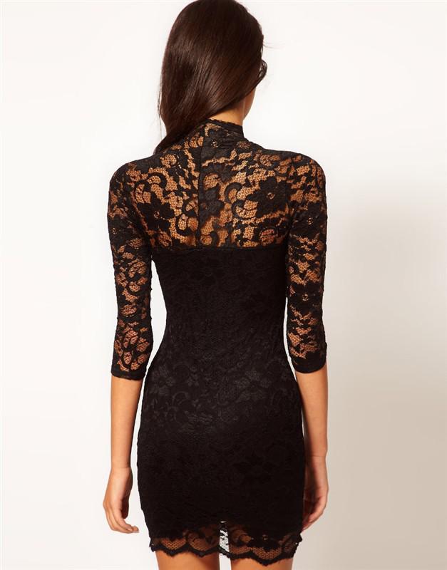 2013 nieuwe mode dames sexy v-hals kanten jurk geschulpte nek 3/4 mouw dames cocktail jurk