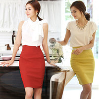 Wholesale High Waist Fitted Business Skirts - New Womens Fitted Business Bodycon Short Career High Waist Bodycon Pencil OL Skirt Free Shipping