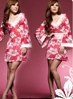 Wholesale Ladies Underwear Babydoll - Sexy Women Pink Sleepwear Pajamas kimono Babydoll lady kimono Floral Print Dress Tulle Hot pink Flower Sleep Underwear 1808
