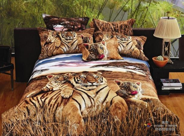 3d Siberian Tiger Print Bedding Comforter Set Queen Size