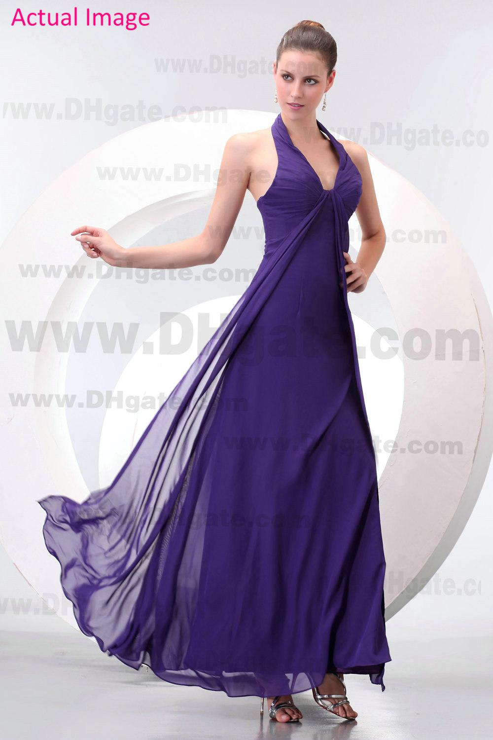 Dark purple chiffon bridesmaid dresses pleated halter v neck cheap see larger image ombrellifo Images