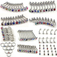Wholesale Bulk Tongues Ring - 10style Stainless Rhinestone Bulk Belly Tongue Lip Piercing Body Jewellery 200X Free Ship [BB19-BB24 BB26-BB29(200)]