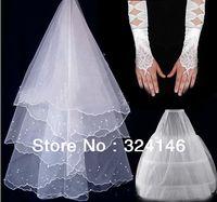 Wholesale Hot Classy Dresses - New Classy wedding veil + glvoes+ pannier set Wedding dress formal dress accessories Hot Sale Cheap Free shipping