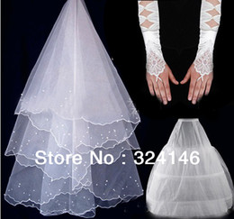 Wholesale Hot Classy Dresses - New Classy wedding veil + glvoes+ pannier set Wedding dress formal dress accessories Hot Sale Cheap Free shipping