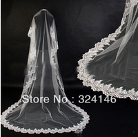 Wholesale Veil Crafts - Free shipping T623-3M Gorgeous embroidery wedding dress veils special craft bridal veils for fashion