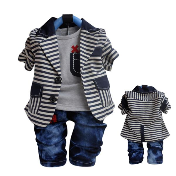 2018 Smart Baby Boy Outfit Tuxedo Jacket Jeans Wedding Jumper Costume Stripe Suit Uk From