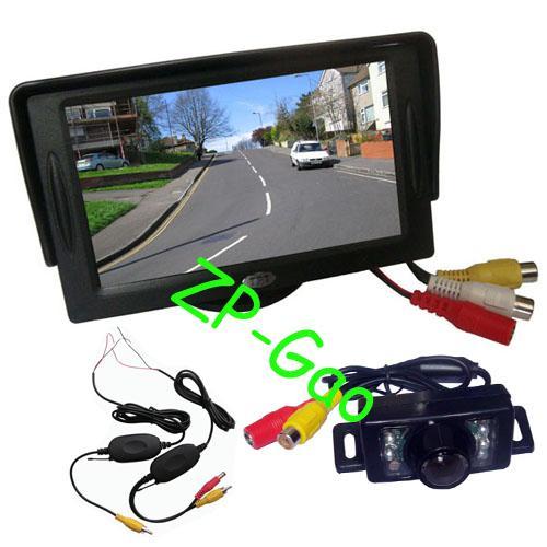 "best selling New 7 IR LED Wireless Reverse Reversing Backup Camera + 4.3"" LCD Monitor Car Rear View Kit"