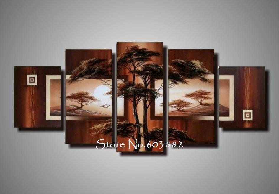 Natural Natural Scenery 100 Hand Painted Oil Wall Art 5 Piece Canvas Art Landscape Oil Painting Dec