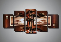 Wholesale Natural Wall Paint - natural natural scenery 100% hand painted oil wall art 5 piece canvas art landscape oil painting dec