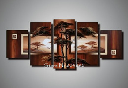 Wholesale Landscape Scenery Paintings - natural natural scenery 100% hand painted oil wall art 5 piece canvas art landscape oil painting dec