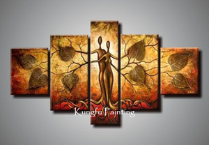 100% Hand Painted discount Abstract 5 Panel Canvas Art Living Room Picture Wall Decor Painting Modern Sets