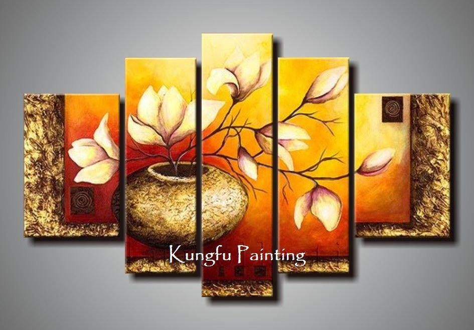 Cheap Modern Wall Decor online cheap 100% hand painted unframed abstract 5 panel canvas
