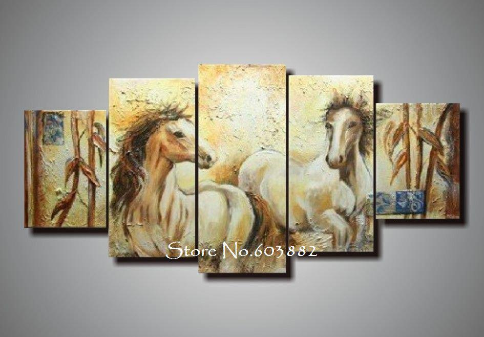 100 handmade unframed abstract horse canvas painting 5 piece canvas art wall art high quality