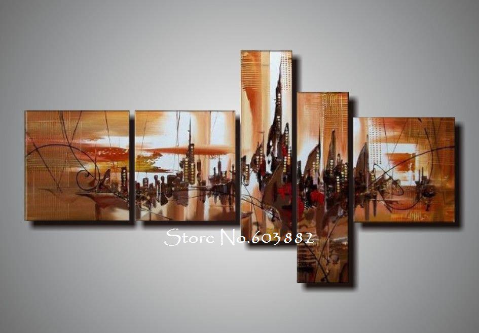 Five Piece Canvas Wall Art 2017 100% handmade unframed canvas art painting acrylic on canvas