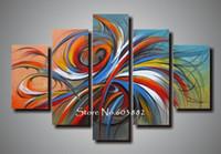 ingrosso pannelli d'arte astratta-100% handmade sconto 5 pezzo pannello di tela arte della parete della parete di arte moderna pittura astratta decorazione della casa