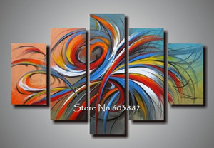 100% handmade discount 5 piece canvas panel art wall art canvas modern abstract painting home decoration