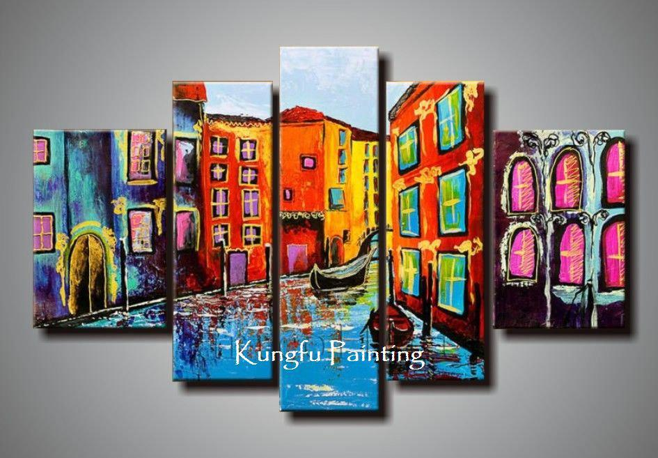 100% Hand Painted Abstract Unframed 5 Panel Canvas Art Living Room Wall  Decor Painting Modern ...