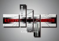 pintura al óleo blanco rojo negro al por mayor-100% pintado a mano sin marco rojo moderno blanco y negro arte abstracto pintura al óleo arte de la pared lienzo