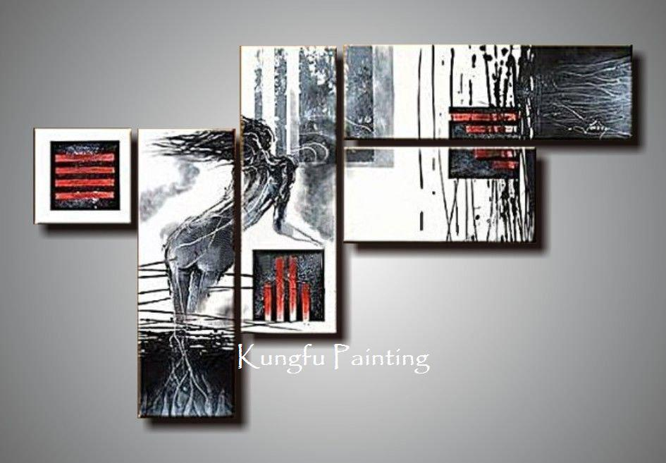 100 Hand Painted Unframed Modern Red Black And White