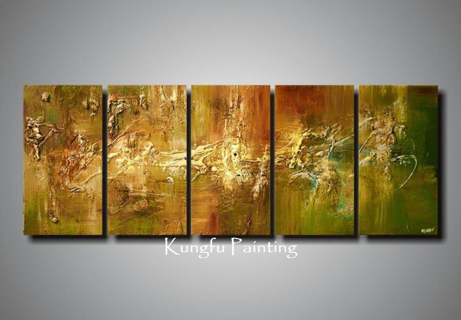 2018 100 Hand Painted Abstract 5 Panel Canvas Art Living Room Wall