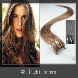 Canada 2015 Best-seller vierge brésilienne micro boucle extensions de cheveux 1,0 gramme par brin 150 brins par paquet # 8 brun clair dhl shpping gratuit Offre