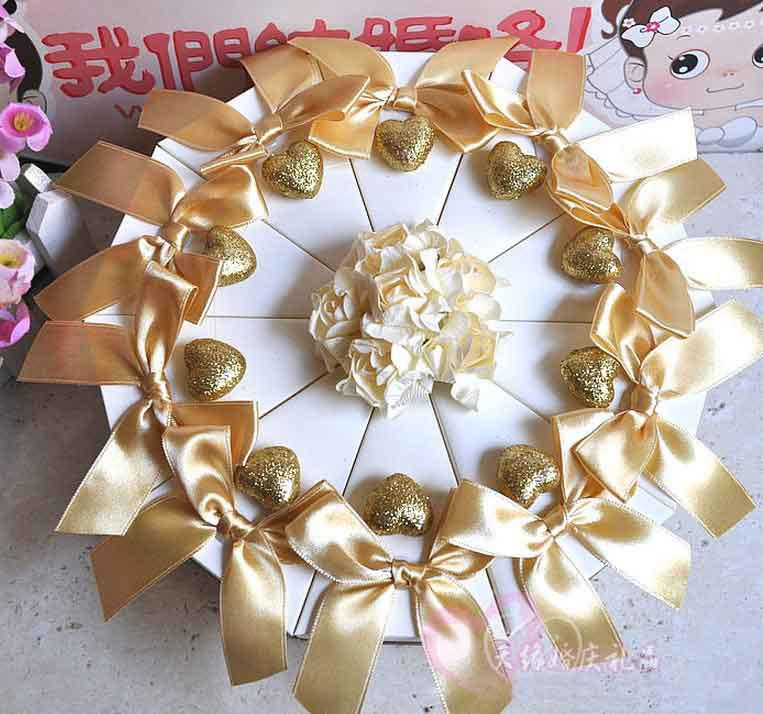 Gold Ribbon With Cream Flowers Wedding Cake Box Party Favors Candy Boxes Fff Birthday Favor Blue From Service 4026