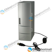 Wholesale Mini Usb Pc Fridge Refrigerator - Mini USB PC Fridge Refrigerator Beverage Drink Cans Cooler Warmer USB Gadgets Silver
