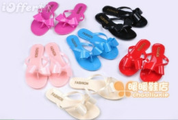 Wholesale Jelly Bow Heel - free shipping~ems speed~7 colors bow flip flips jelly flat sandals p492