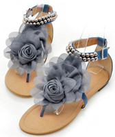 Wholesale Biggest Promotion new arrival sweaty women flat sandals with flower on top beading strip