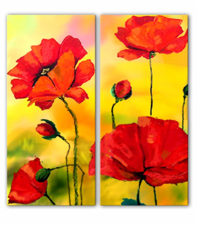 Modern Still Life Group Paints Pop Flowers Painting Home