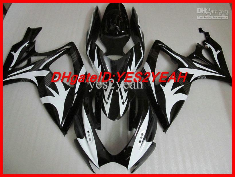 Black White Fairing Kit voor Suzuki GSXR 600 750 K6 GSX-R 600 750 2006 2007 Carrosserie GSXR600 GSXR750 06 07 Valerijen Set