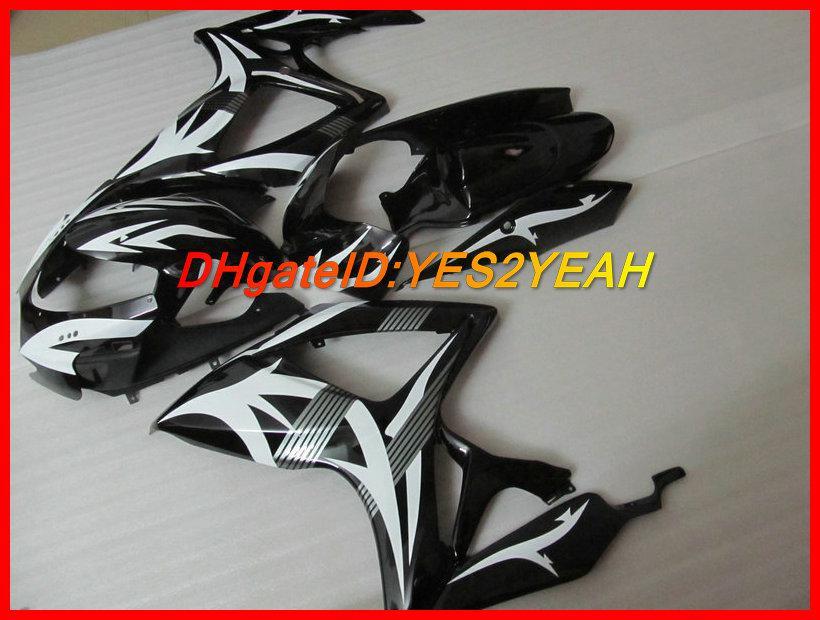 Svart White Fairing Kit för Suzuki GSXR 600 750 K6 GSX-R 600 750 2006 2007 Kroppsarbete GSXR600 GSXR750 06 07 Fairings Set