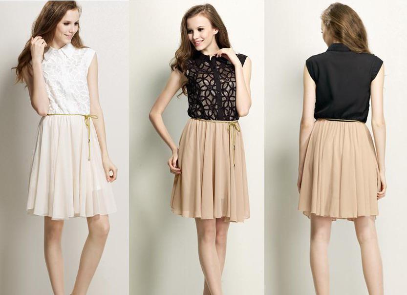 Großhandel Mode Schwarz Damen Sommer Casual Kleid Apricot Beige ...