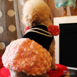 Wholesale Dog Dresses Size Small - and retail dog 3D rose wedding dress with necklace pink color mix size free shipping pet c