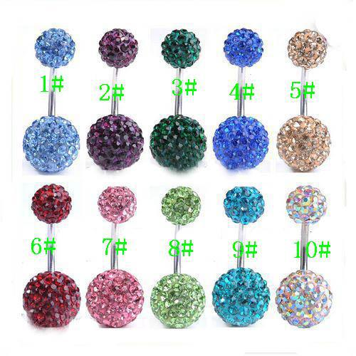 20pcs* Body Jewellery 6mm & 10mm Crystal Ball 316L Steel Belly Bar Navel Ring Body jewelry