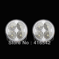 Wholesale Daytime Car 4w - NEW Arrival Waterproof Round 2 X 4 LED 4W Super White 12V Car DRL Daytime Running Lights Fog Light Free Shipping