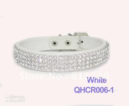 Wholesale White Leather Dog Harness - Pet Dog Cat Collars Leads Colorful Rhinestone diamond PU Leather Crocodile Pattern White S M L
