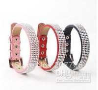 Wholesale Red Bling Dog Harnesses - Bling Bling Full Rhinestones Dog Leather Collars,pink, red, blue
