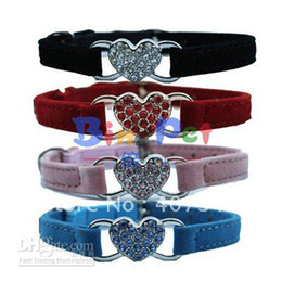 Wholesale Elastic Cat Collars - Free Shipping! MOQ 12 pcs Bling Heart Cat Collar with Safety Elastic Belt & Bell 4 Colors