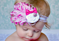 Wholesale White Peacock Feather Baby Headband - Baby Girl Infant Headband Bow Peacock Feather FASCINATOR Headband Flower Hair Accessories Pink White