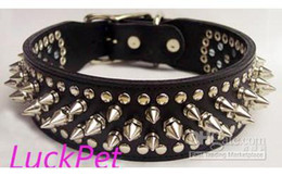Wholesale Dog Spiked Real Leather - free shipping spiked real leather dog collar, high quality leather dog collar